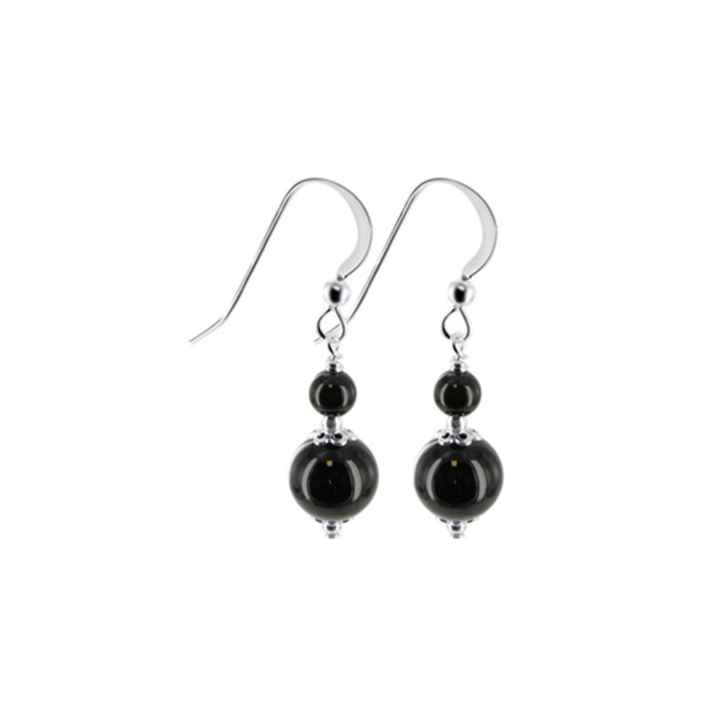 e24ad59db Amazon.com: 925 Sterling Silver Drop Earrings Handmade with Black Onyx  Beads Made with Swarovski Crystals: Black Onyx Necklace: Jewelry