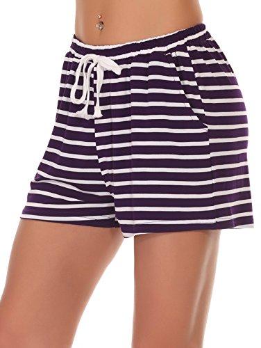 Jersey Striped Shorts (Fayejove Women's Lightweight Cotton Jersey Short Striped Pajama Shorts Purple M)
