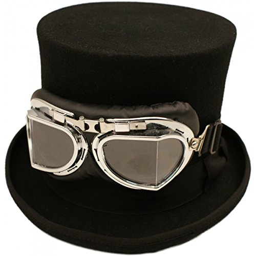 Wool Felt Steam Punk Topper Hat with Goggles