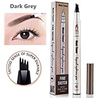 Microblading Tattoo Eyebrow Pen,Elisabeh Waterproof Ink Gel Tint Drawing Eyebrow Pencil with Four Tips,Creates Long Lasting Natural Hair-Like Defined Brows All Day(Dark Gray)