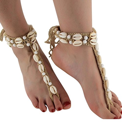 Yeefant Boho Weave Rope Bead Anklet Sandal Beach Adjustable Shell Anklet With Beads Beach Jewelry for Women Mother Birthday Gift,Beige - Bell Sterling Silver Turquoise Ring