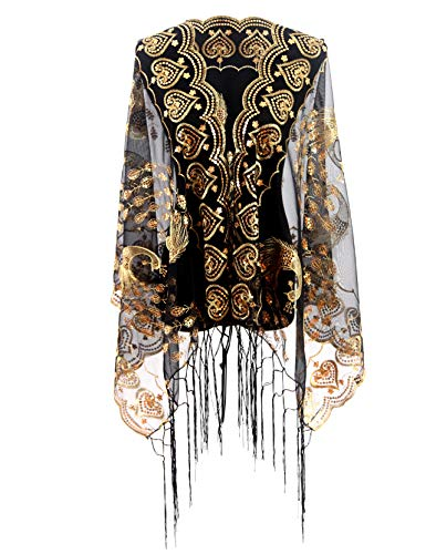 Peacock Shawl Scarf - MissShorthair Women's 1920s Scarf Mesh Sequin Wedding Cape Evening Shawl Wrap With Peacock Print