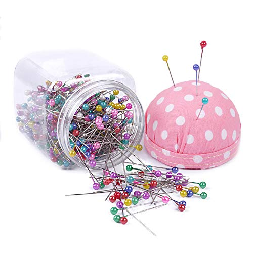 eZAKKA 500pcs Sewing Pins 38mm Multicolor Ball Head Pins Quilting Pins in Plastic Storage Jar Containers with Pin Cushion Lid for Dressmaking Jewelry Components Flower Decoration - Yellow Quilting Pins
