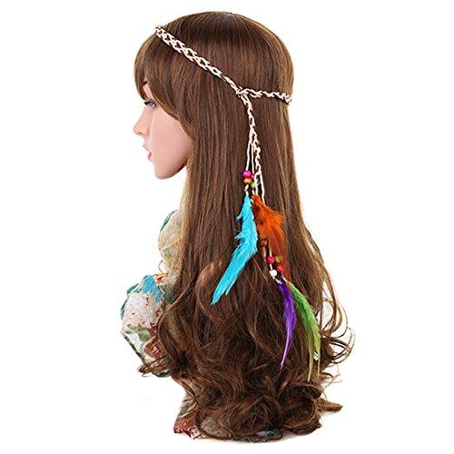 TOOGOO Headband Feather Headband Women Girls Stretchy Braided Leaf Bead Hair (Empress Natural Wood)
