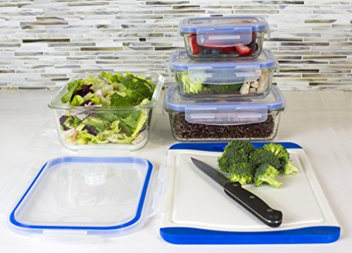Premium 4 Sets Glass Meal Prep Food Storage Container with Snap
