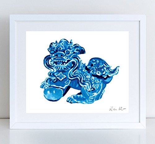 Chinese Foo Dog Art Blue Foo Dogs Print Vintage Statue Dragon Art Asian Decor Chinoiserie Chinese Antique Ming Vase Hollywood Regency Canvas Art Watercolor Art Print (Valentino Vase)