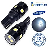 BEAMFUN T10 Wedge 6-SMD,SAMSUNG 3030 LED Chips,DC12V for 194 168 2825, Used For Signal Lights, Trunk Lights, Dashboard Lights, Parking Lights, with Projector Lenses,White,2 pack