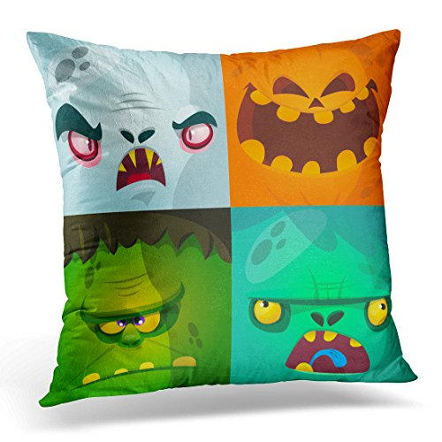 Duplins Throw Pillow Case Square Home Decor Pillowcase Blue Halloween Cartoon Monster Faces Cute Avatars and Pumpkin Vampire Dracula Zombie Green Character Decorative Pillow Cover 18x18 Inches
