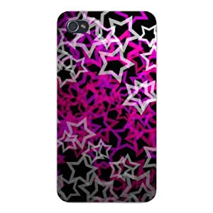 Apple Iphone Custom Case 6 plus 5.5 White Plastic Snap on - Colorful Outlined Stars Stacked on Black