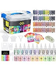 Magicfly 20 Colors Tie Dye Kit,179 Pack Fabric Dye DIY Kit, Non Toxic One-Step Tie Dye Set for Kids and Adult, Perfect for Summer Camps, Parties, School Events, Family Reunions and Group Activities