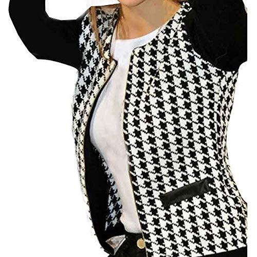 Oliviavan Blouse,Women Fashion Houndstooth Long Sleeve Zippers Pockets Coat Jacket Windbreaker ()