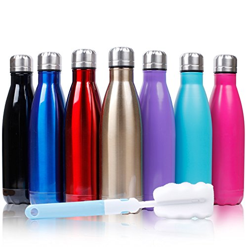 Sfee 17oz Double Wall Vacuum Insulated Stainless Steel Water Bottle Cup - Perfect for Outdoor Sports Camping Hiking Cycling +a Cleaning Brush (Purple)