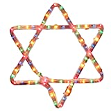 Star of David in Multicolors Lighted Hanukkah Rope Decoration for Indoor/Outdoor Use