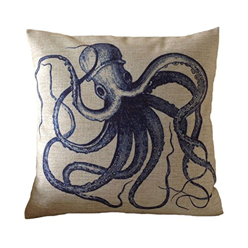 Aeneontrue Cotton Linen Octopus Print Sea Aniaml Square Decorative Throw Pillow Cover Cushion Cover Case 18