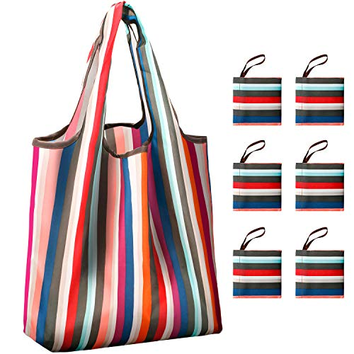 Reusable Grocery Shopping Bags Foldable with Pouch, Heavy Duty Nylon Cloth Reusable Bags for Groceries, Shopping Trip (Stripe, 6-pcs)