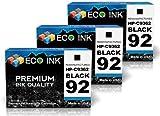 ECO INK © Compatible / Remanufactured for HP 92 C9362WN (3 Black) Ink Cartridges for HP PhotoSmart C3100, C3140, C3180, 7838, C3110, C3150, 7800, 7850, C3125, C3170, 7830 HP Deskjet 5420, 5438, 5440v, 5442, 5420v, 5440, 5440xi, 5443 HP OfficeJet 6300, 630