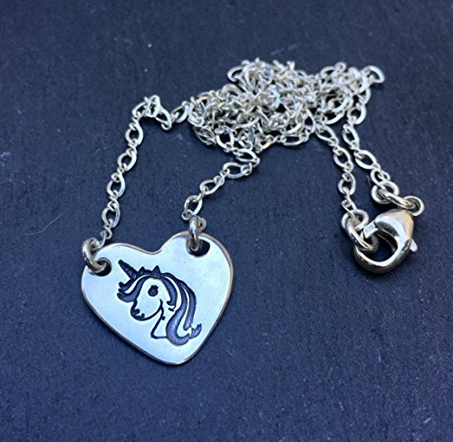 """Unicorn 16 """" Sterling Silver Heart Charm Pendant Necklace Jewelry Gift for Little Girl"""