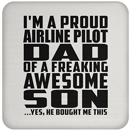 (Designsify Dad Coaster Proud Airline Pilot Dad of Awesome Son - Drink Coaster Non Slip Cork Back Protective Mat Best Funny Gag Gift Idea for Father B-Day Birthday Christmas Xmas from Son Kid)