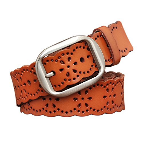 TUNGHO Vintage Womens Hollow Flower Belt Genuine Leather Belts With Needle Buckle Plus Size Nice Gift Box(3XL, Max pants size 51