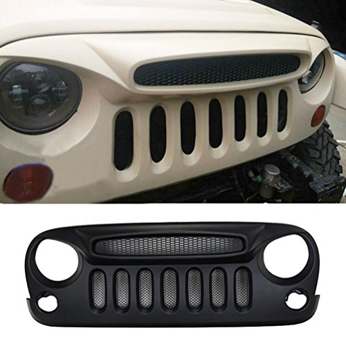 Jeep Rubicon Black >> [Latest Version] Matte Front Grill Ghost Black Grille with Built-In Mesh Fit For jeep Wrangler ...