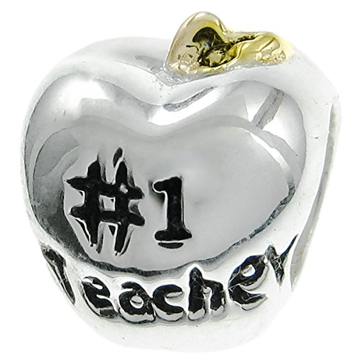 1 Teacher Apple (2 Tone 925 Sterling Silver #1 Greatest Teacher Apple Bead For European Charm Bracelets)
