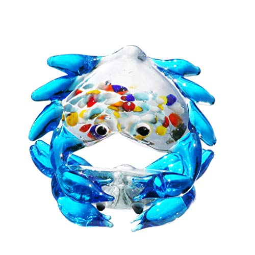 Waltz&F Blue Colorful Crab Figurine Mini Animal Collectible Statue Art Glass Miniature Animals Collection, Dollhouse Miniatures,Size Approx:2.36