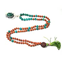 Intention Meditation Mala- Prosperity Green Jade Heart Mala Rudraksha Prayer Beads Yoga Mala