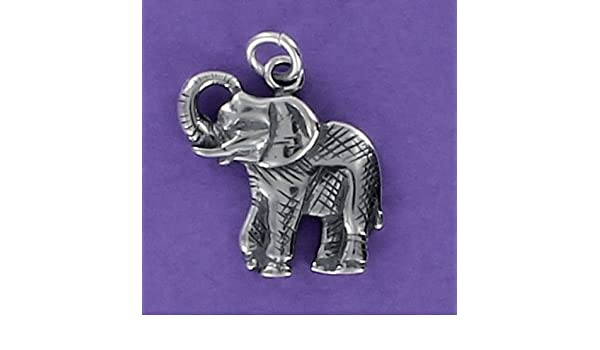 Elephant Charm Sterling Silver 925 for Bracelet Jungle Animal Tusks Circus
