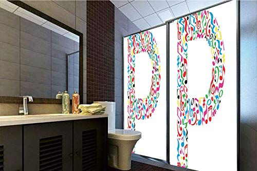Horrisophie dodo 3D Privacy Window Film No Glue,Letter P,Notes of Music Harmoniously Combined Creating Capital P Alphabet ABC Design Print Decorative,Multicolor,47.24
