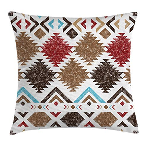 """Ambesonne Tribal Throw Pillow Cushion Cover, Retro Grunge Maya Latin Mexican Animistic Motifs with Hippie Arrows Image, Decorative Square Accent Pillow Case, 20"""" X 20"""", Pale Brown"""