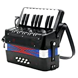 MonkeyJack Mini Kids Accordion 17 Keys 8 Bass Musical Educational Instrument Toy Xmas Gift Black