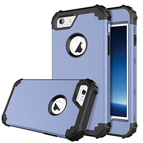 BENTOBEN iPhone 6 Case, iPhone 6S Case, Hybrid Hard PC Soft Rubber Heavy Duty Rugged Bumper Shockproof Anti Slip Cover Full Body Protective Case for iPhone 6/6S, Coral Blue