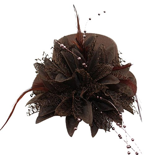 Top Hat Fascinators (BAOBAO Women Flower Mini Top Hat Fascinator Wedding Party Bridal Hair Clip Hairpin)