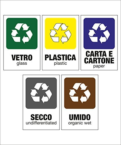 Carta Plastica Umido kamiustore Pack di 5 Cartelli adesivi 13,5 x 20 cm raccolta differenziata per rifiuti Secco Vetro