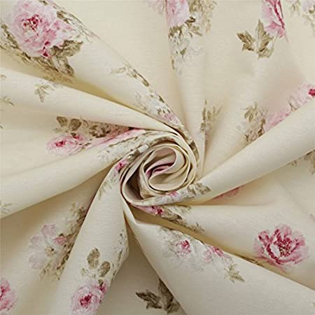 Cotton Chintz Interiors Fabric Pink Old Roses on White