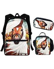 Student bokväskor mellanstadieväska set Galaxy Space ryggsäck för tonåringar flickor pojkar böcker väska set med lunchlåda pennväska lätt ryggsäck barn galen häst