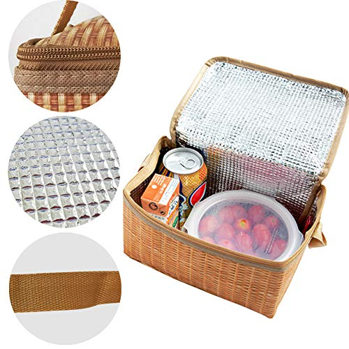 Insulated Lunch Tote Bags for Women Small Cute Creative Lunch Box Cooler Organizer Bag Fun 3D Print Lunch Bag Looks Like Bamboo Bag Portable Foldable Picnic Camping Car Travel Food Fruit Drink Organiz