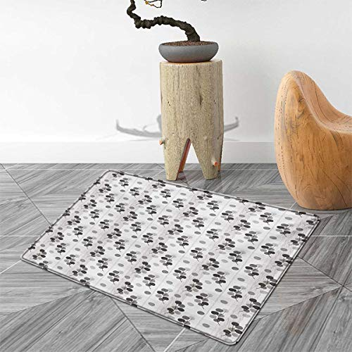 Abstract Door Mat Outside Fall Tree Branches Monochrome Image Striped Background Autumn Foliage Bathroom Mat for tub Non Slip 5'x6' Charcoal Grey Pale Grey (Carl Fireplace)