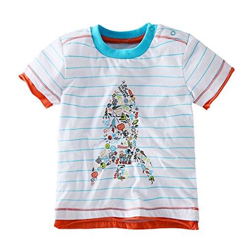 En Coton Blouse À Casual Manche Garçon Eté Enfant Bleu Fille Acvip rayure T Courte Tops shirt gp7Pxq8