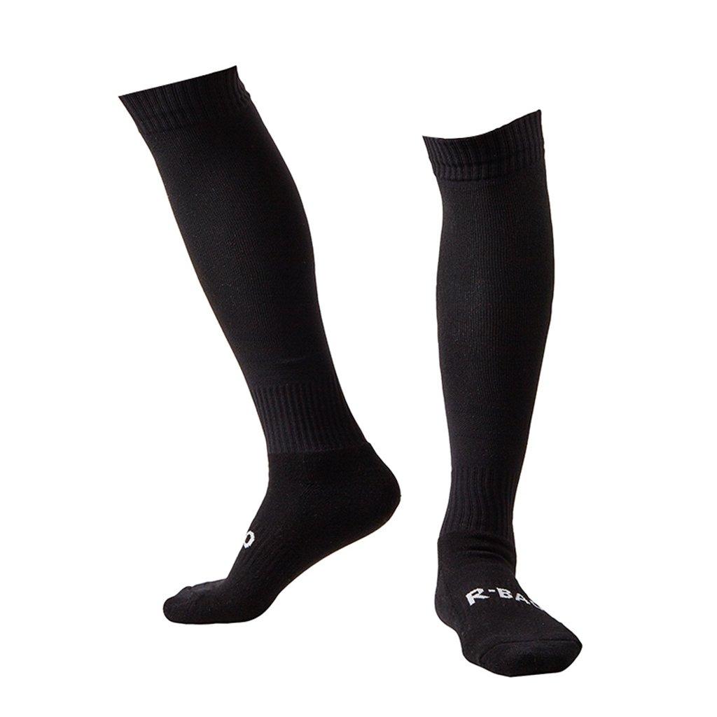 Plain Black Soccer Socks Men Women Adult Long Tube Team Football Socks Cushioning Well by Guumor