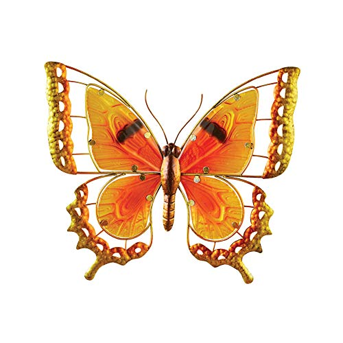 Collections Etc Colorful Orange Glass Butterfly Wall Art with Metal Body - Seasonal Decorative Accent for Outdoor or Indoor Use