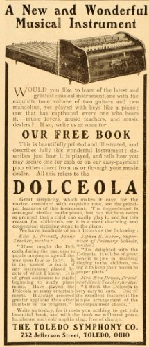 1906 Ad Dolceola Musical Instrument Toledo Symphony Co. - Original Print Ad from PeriodPaper LLC-Collectible Original Print Archive