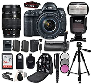 Canon EOS 5D Mark IV Digital SLR Camera Bundle with EF 24-105mm f/4L IS II USM Lens + Tamron Zoom AF 70-300mm f/4-5.6 Lens + Professional Accessory Bundle (14 items)