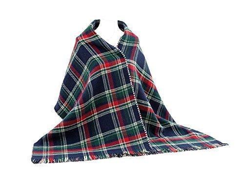Ladies Scotland Scarf Large Blue Red Checked Plaid Tartan Scarf Wrap Shawl Stole