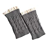Women's Boot Knit Cuffs Socks Clearance- Short Crochet Leg Warmers - Iuhan Women Winter Warm Knit Leg Warmers Crochet Leggings Slouch Boot Socks Velvet (C-Grey)