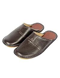 Haisum Summer Closed Toe Leather Slipper Indoor Luxury Mule Slip On House Sandals for Men
