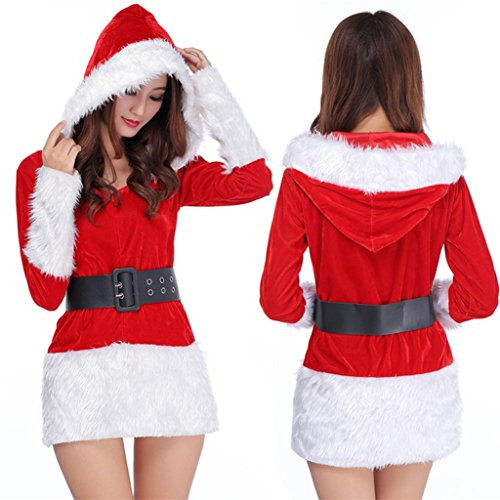 Cheap Fancy Dress Outfits (Women Outwear Casual Cloths: Qingfan Women Sexy Santa Christmas Costume Fancy Dress Xmas Office Party Outfit (Red))