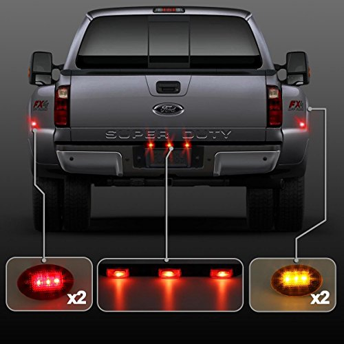 Partsam Red 3 Bar Light &LED Fender Bed Side Marker Lights (Amber Red) For Ford (Amber Tail Light Cap)