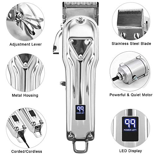 Cosyonall Professional Cordless Hair Clippers for Men Haircut Kit USB Rechargeable Hair Grooming Trimmers Kits Set with LED Display Stylists Barbers Kids Home Using (All Metal Heavy Duty Motor)