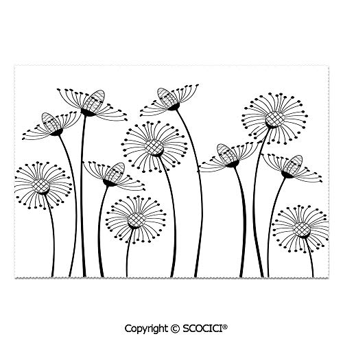 (SCOCICI Place Mats Set of 6 Personalized Printed Non-Slip Table Mats Meadow Flowers Stylized Abstract Dandelions Countryside Art Decorative for Dining Room Kitchen Table Decor)